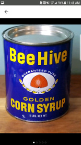 Vintage Bee Hive Corn Syrup Tin Can