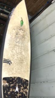 """Chilli surfboard 6'3"""" fiberflex Inc fins, bag and leash"""