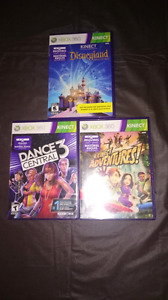 Three xbox360 Kinect games