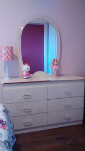 Wooden 6 drawer chest with mirror