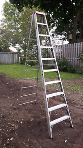 2 aluminum ladders. 9' step ladder and 6' combo type