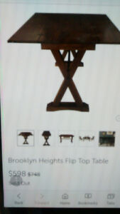 Brand New Brooklyn Heights Flip Top Table & 2 Ladder-back Chairs