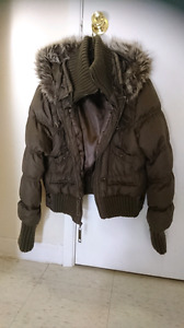 Large double zipper, ladies winter jacket with turtleneck