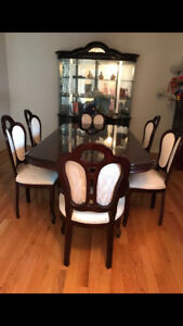 Pristine condition Rosewood Dining Set and Glass Cabinet