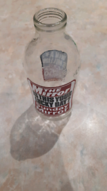 Vintage glass milk bottle advertising the Mirror/Sunday Mirror##
