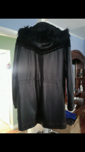 New in plastic never worn beautiful  leather coat