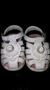 Adorable white size 3 baby sandals $10