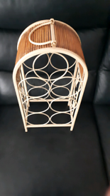 Ornate Designed Metal And Bamboo Wine Rack. ##