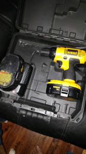 Dewalt 18v drill with charger and two batteries.