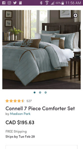 King 7 piece bedding set and 2 matching lamp shades