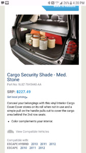 Cargo Security Shade for for Ford Escape 2010-2012