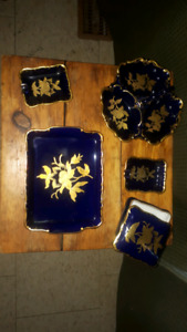 Blue gold plated antique dishes