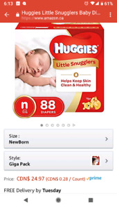 Huggies little snugglers new born diapers