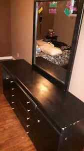 Beautiful black dresser with mirror