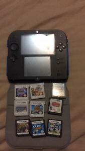 Nintendo 2ds blue with  4 3ds games and 5 ds games