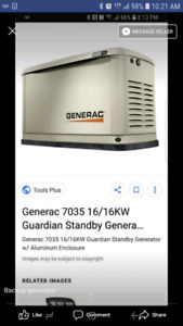 16kw backup generator, never used bought new Sept 2017