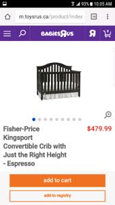 Baby Crib *Fisher-Price*  Wooden