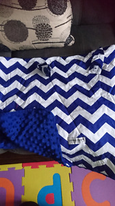 Blue/white carseat canopy