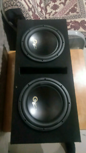 2 12 inch subwoofers, box & amp combo