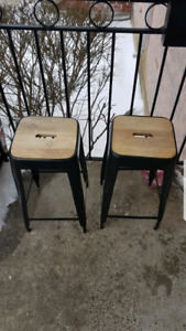 2 rustic metal / wood design bar stools $40 each