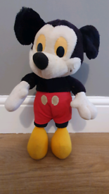 Rare Vintage Mickey Mouse Soft Toy Yellow Eyes & White Face vgc 1960s