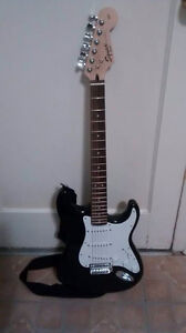Fender Squire Black Electric Guitar with Carrying Case and Amp