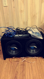 """10"""" Rockville subs with 1200W amp and all wires"""