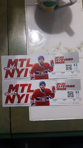 2 Hockley Tickets Mtl.Canadians vs NY Islanders