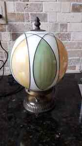 Stained glass look globe ceiling fixture