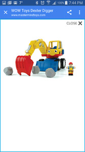 WOW Toys: Dexter the Digger with man and boulders. In EUC.
