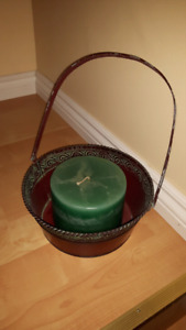 Candle in metal basket