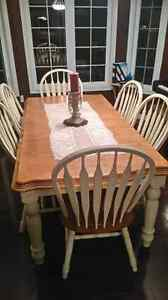 Solid wood dining table and chairs x6