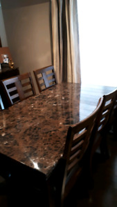 Dining Table, Chairs and Wine Hutch
