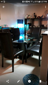 6 Leather Chair Glass Dining Room Table