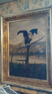 Nineteenth century painting of an eagle, oil on canvas