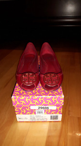 Tory Burch red leather peep toe wedge size 5.5