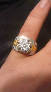 Large size 11 sterling silver CZ mens pinky ring