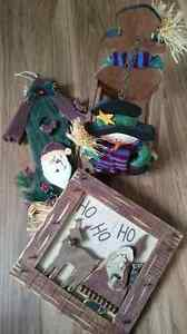 3 Christmas Decorations - Basket and Wall Hangings