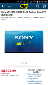 "SONY 65"" 4K UHD HDR OLED ANDROID SMART TV!"