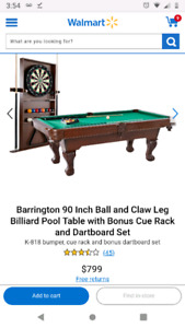 Brand new pool table, cue rack, dartboard, and accessories in bo