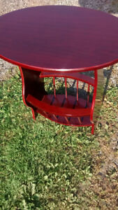 Cherry Finish Side Table with Magazine Rack