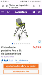 Chaise haute portative Pop n Sit de Summer Infant