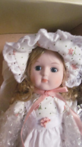 "13"" Adorable Porcelain Doll - Complete with stand and box"