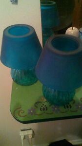 2 Blue Candle Lamps
