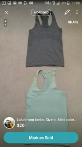 Lululemon tanks with silver.  Size 4