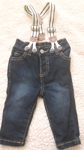 Baby Jeans with suspenders.