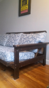Futon frame and couch cushions