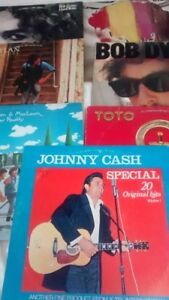 7 ASSORTED VINYL RECORDS BOB DYLAN,JOHNNY CASH MACLEAN AND MACL