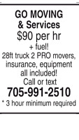 GO Moving & Services 705-991-2510 price list included