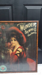 Vintage Large Framed Beer Poster,Shabby Chic Decor